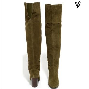 Jessica Simpson over the knee olive suede boots